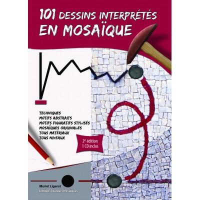 """Livre """" 101 dessins interprétés en mosaique """" avec CD"""